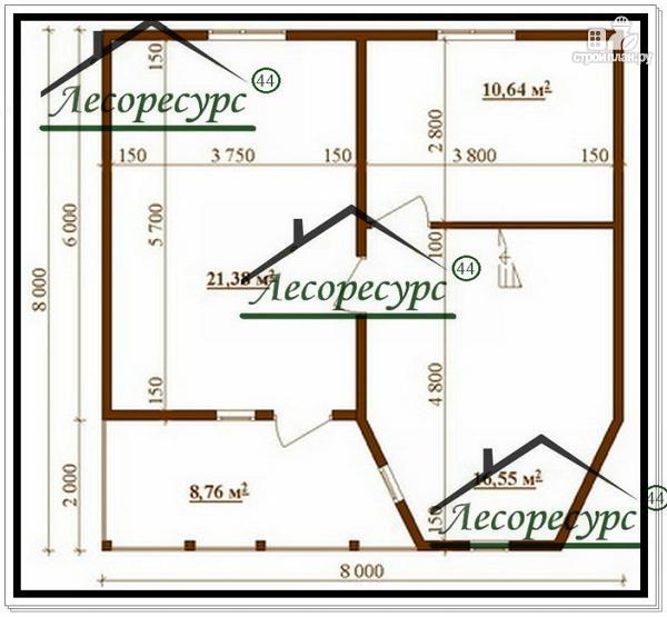 Фото 3: проект дом 8 × 8 из бруса