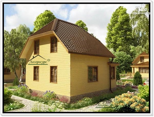 Фото 3: проект дом 7 на 9 из бруса с верандой и мансардой