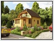 Фото: дом 7 на 9 из бруса с верандой и мансардой