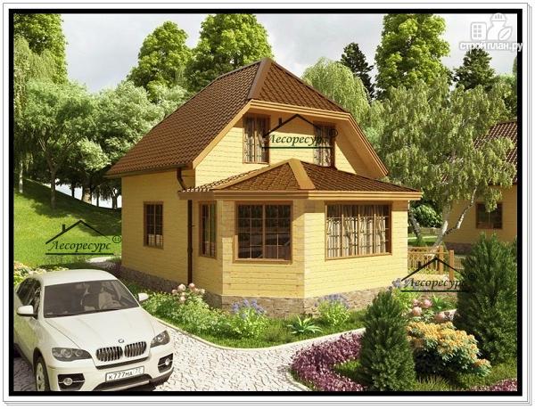 Фото 2: проект дом 7 на 9 из бруса с верандой и мансардой