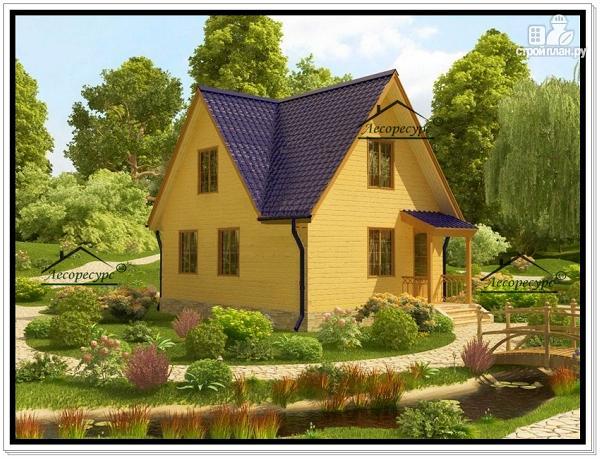 Фото 3: проект дом 6 на 8 из бруса с мансардой