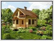 Фото: дом из бруса с эркером и террасой
