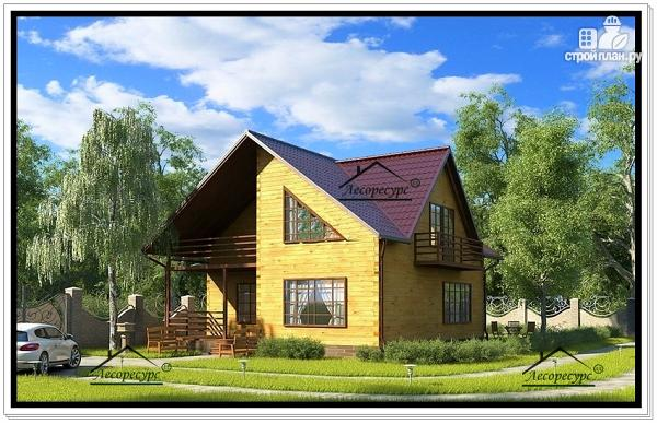 Фото: проект дом из бруса с лоджией