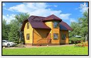Проект красивый дом с эркером из бруса