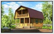 Фото: дом эконом класса из бруса с мансардой