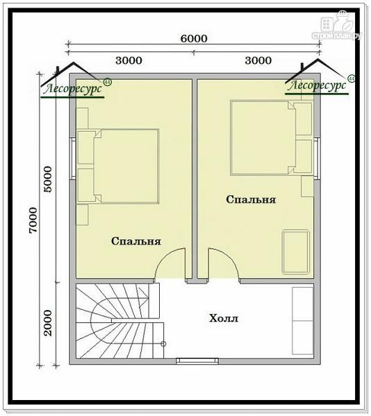 Фото 3: проект дом из бруса 6 на 8 в полтора этажа
