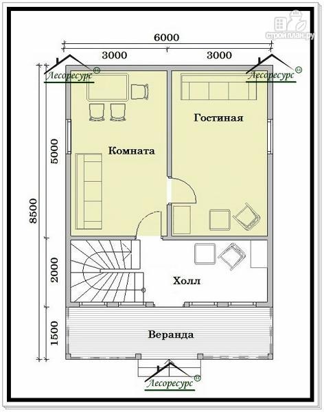 Фото 2: проект дом из бруса 6 на 8 в полтора этажа