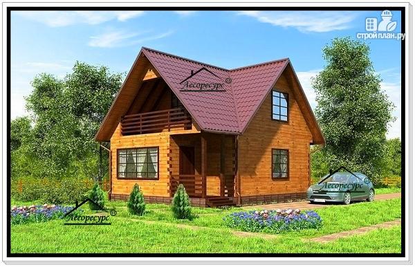 Фото: проект дом из бруса с тремя фронтонами