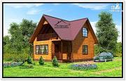 Фото: дом из бруса с тремя фронтонами