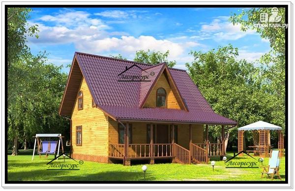 Фото: проект деревянный дом из бруса с эркером