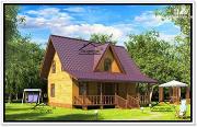 Фото: деревянный дом из бруса с эркером