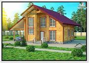 Фото: дом из бруса с навесом