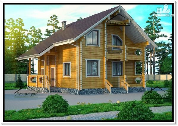 Фото 2: проект деревянный дом из бруса с мансардой