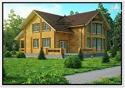 Фото: загородный дом из бруса с мансардой