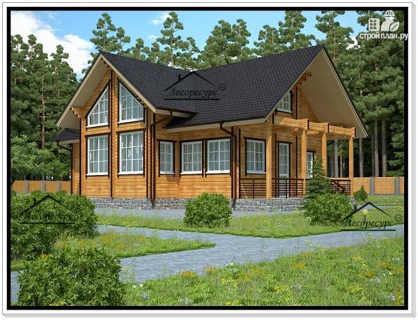 Фото: проект дом из бруса с открытой верандой