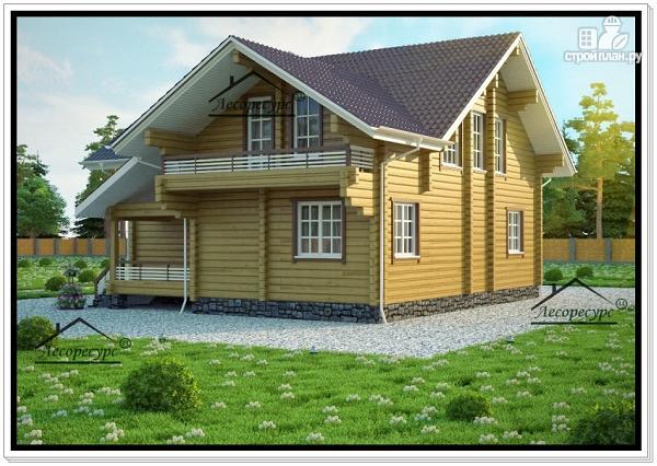 Фото 2: проект стильный дом из бруса