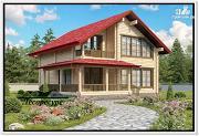 Фото: дом из бруса с мансардной крышей