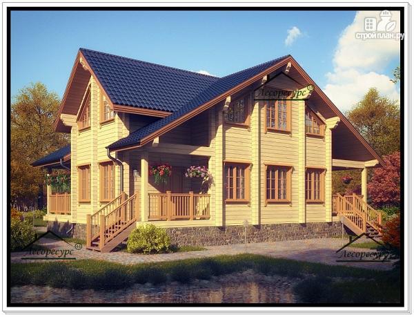 Фото: проект современный дом из бруса с мансардой