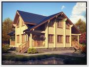 Фото: современный дом из бруса с мансардой