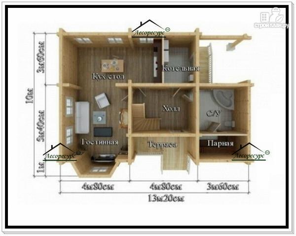 Фото 5: проект брусовой дом с мансардным этажом