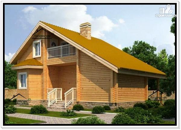 Фото 2: проект брусовой дом с мансардным этажом