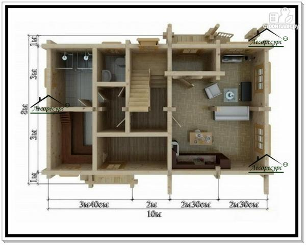 Фото 5: проект дом 8 на 10 с мансардой