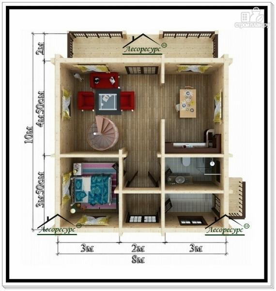 Фото 5: проект дом 8 на 10 с мансардным этажом