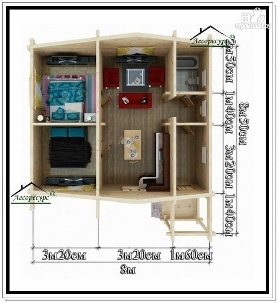 Фото 5: проект дом 8 на 8 одноэтажный