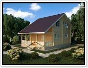 Фото: загородный деревянный коттедж из бруса