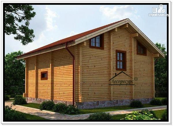 Фото 3: проект дом из бруса с двускатной крышей