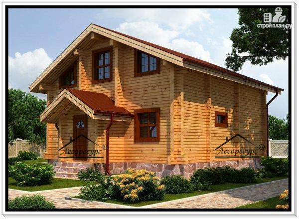 Фото 2: проект дом из бруса с двускатной крышей