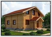 Фото: дом из бруса с двускатной крышей