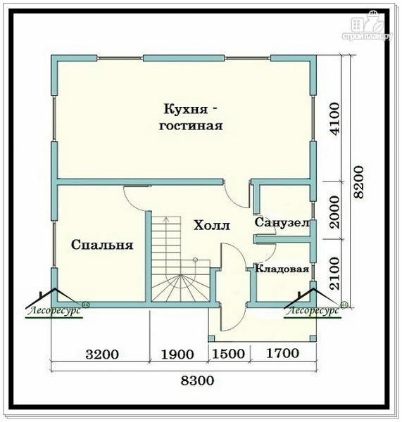 Фото 2: проект брусовой дом в 1.5 этажа