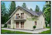 Фото: дом из бруса с балконом