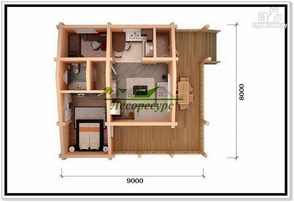 Фото 5: проект одноэтажный дома из бруса