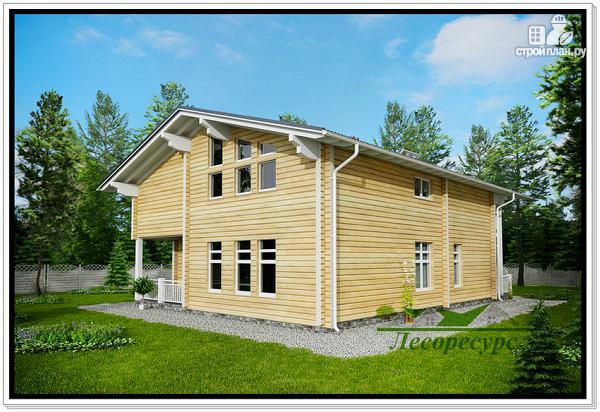 Фото 5: проект дом из бруса с террасой