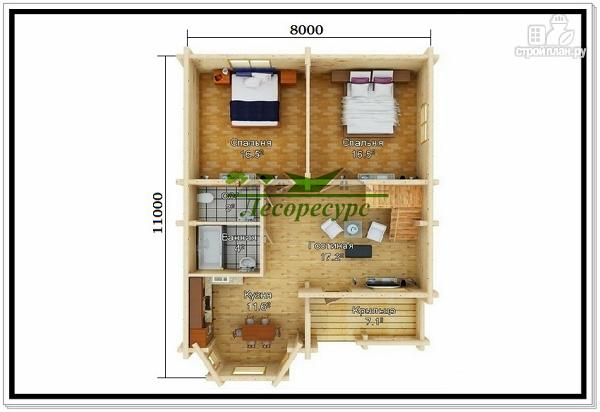 Фото 2: проект частный дом из бревна
