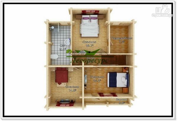 Фото 3: проект дом из бревна с балконом