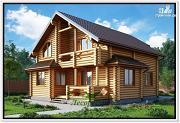 Фото: дом из бревна с балконом