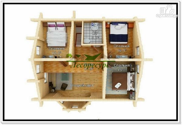 Фото 3: проект дом из бревна с эркером