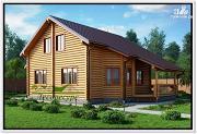 Проект дом из бревна с эркером
