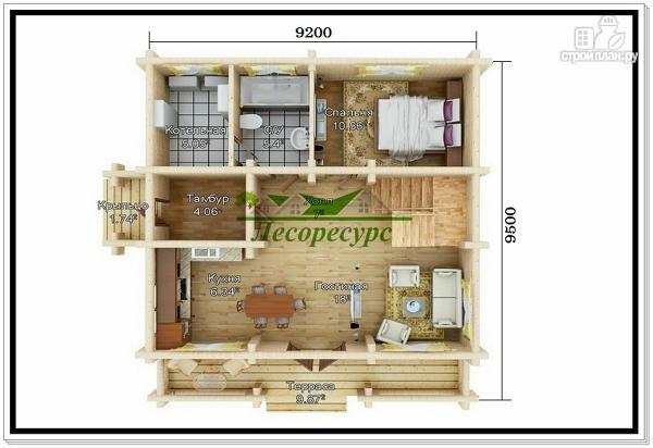 Фото 2: проект дом из бревна с мансардой