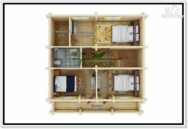 Фото 3: проект дом из бревна с мансардой