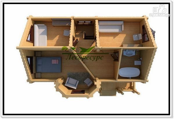 Фото 3: проект дом из бревна с двумя эркерами