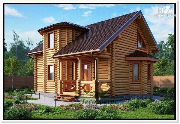 Фото: проект дом из бревна с двумя эркерами