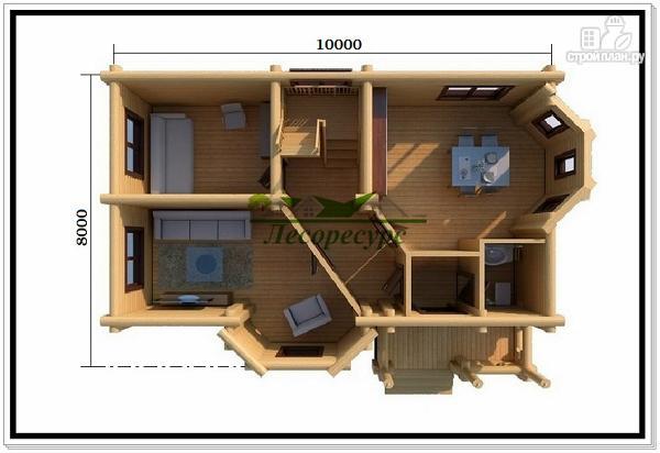 Фото 2: проект дом из бревна с двумя эркерами