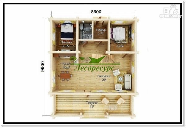 Фото 2: проект дачный дом из бревна