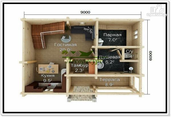 Фото 2: проект бревенчатый дом