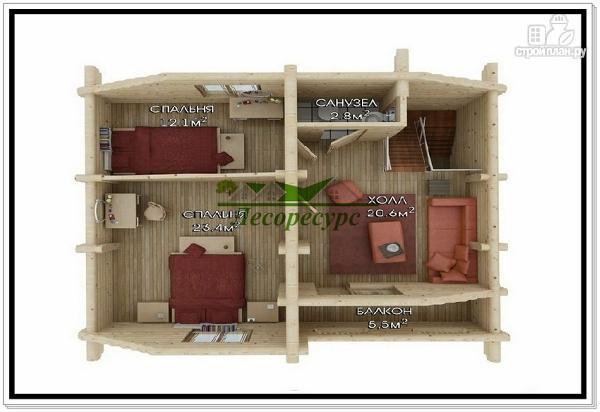 Фото 4: проект дом из бревна с мансардой и эркером