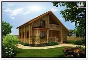 Фото: дом из бревна с мансардой и эркером